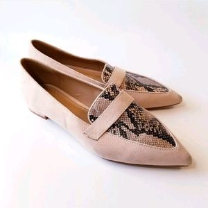 Asos Blush Faux Suede Flats with Snake Print